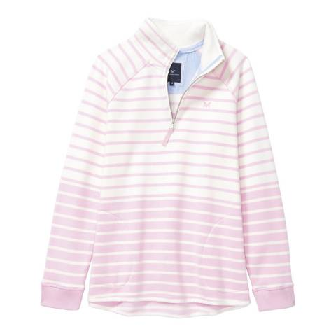 Crew Clothing Pink/White 1/2 Zip Sweat