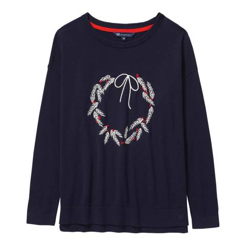 Crew Clothing Navy Christmas Wreath Jumper
