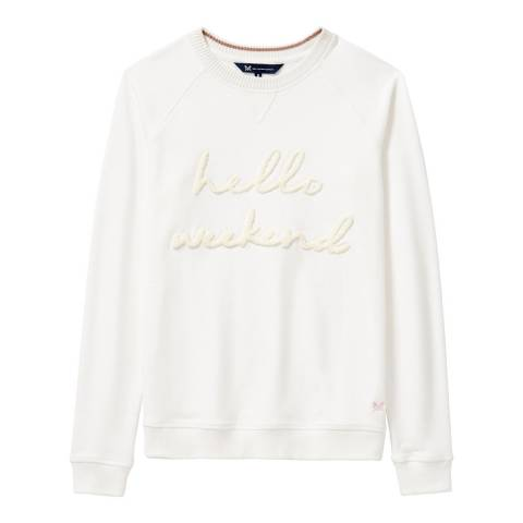 Crew Clothing White Raglan Hello Weekend Sweat