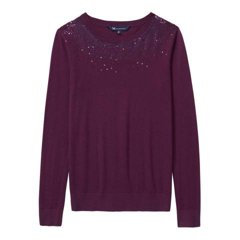 Crew Clothing Burgundy Embellished Jumper