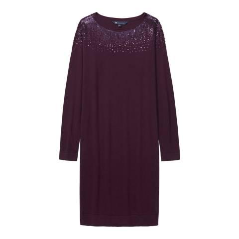 Crew Clothing Burgundy Embellished Knitted Dress
