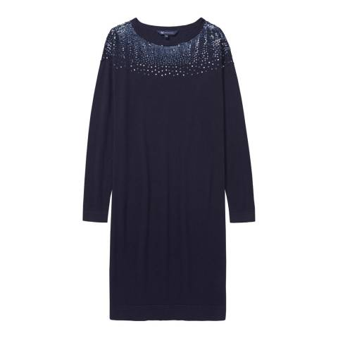 Crew Clothing Navy Embellished Knitted Dress