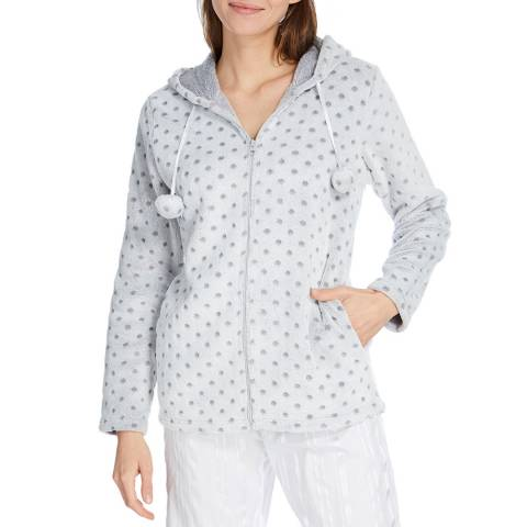 Cottonreal Retro Polka MicroFleece Hoodie Zip Short Robe