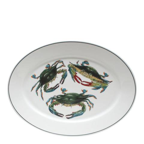 Jersey Pottery Large Blue Crab Oval Seaflower Platter, 42cm
