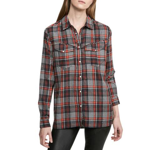 Zoe Karssen Red/Black Loose Fit Checked Shirt