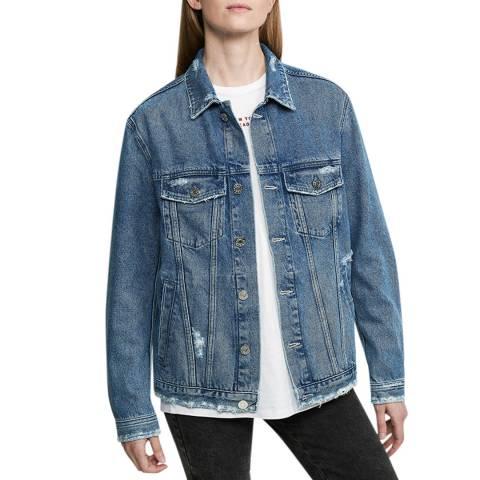 Zoe Karssen Mid Wash Blue Embroidered Eagle Denim Jacket