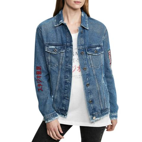 Zoe Karssen Mid Wash Blue Embroidered Denim Jacket