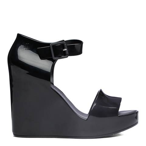 Melissa Black Mar Wedge Glossy Sandals