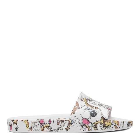Melissa White Unicorn Design Beach Slides