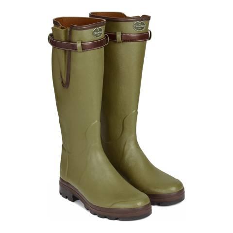 Le Chameau Men's Green Vierzon Leather Lined Wellington Boots (calf width 50)