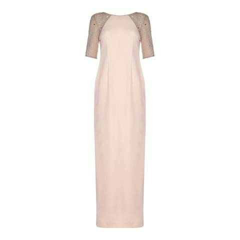 Adrianna Papell Blush Beaded Long Dress