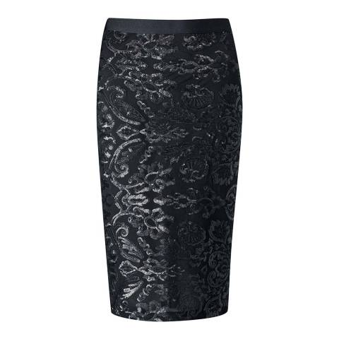Pure Collection Black Sequin Pencil Skirt