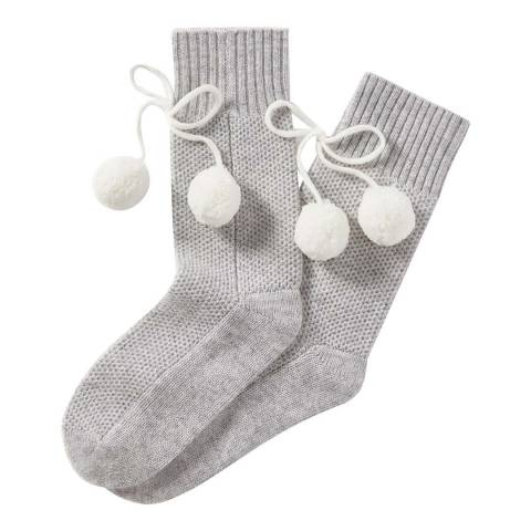 Pure Collection Heather Dove Socks with Pom Poms