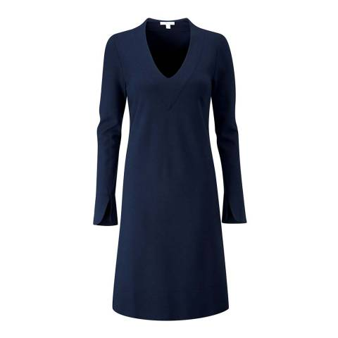 Pure Collection Navy Ponte V Neck Dress