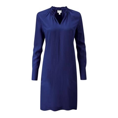 Pure Collection Midnight Silk Ruffle Neck Dress