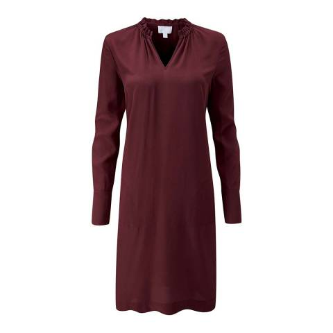 Pure Collection Burgundy Silk Ruffle Neck Dress