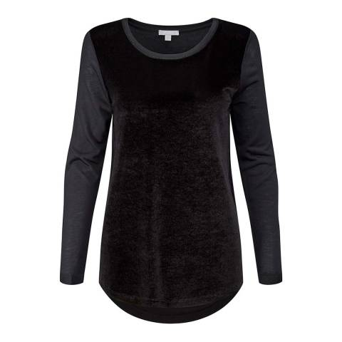 Pure Collection Black Velour Wool Blend Front Top