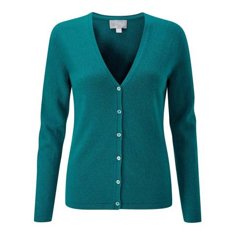Pure Collection Emerald Cashmere V Neck Cardigan