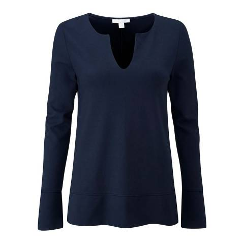 Pure Collection Navy Ponte V Neck Top