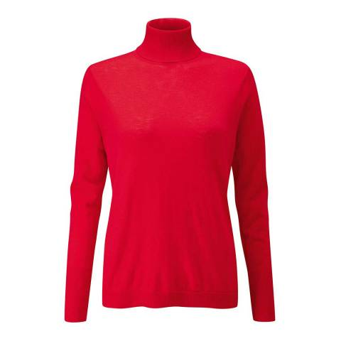 Pure Collection Red Ultra Soft Merino Polo Jumper