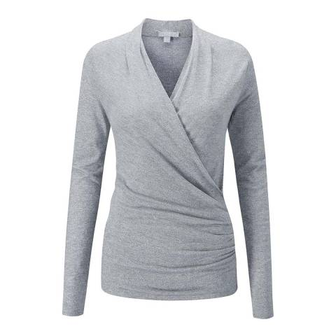 Pure Collection Silver Soft Jersey Wrap Top