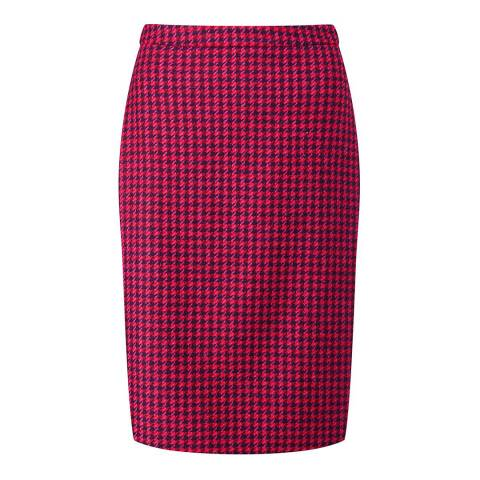 Pure Collection Pink/Red Dogtooth Wool Pencil Skirt