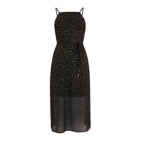 Oasis Black Glitter Chiffon Column Midi Dress