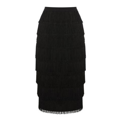 Oasis Black Fringed Pencil Skirt