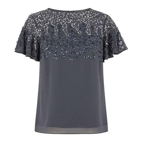 Oasis Mid Grey Sequin Stardust Top