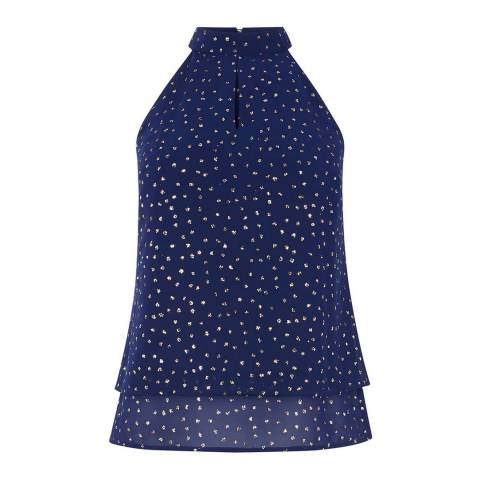 Oasis Dark Blue/Multi Glitter Spot Halter Top