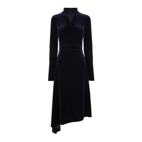 Oasis Navy Velvet Asymmetric Midi Dress