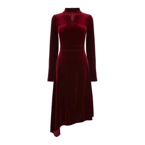 Oasis Burgundy Velvet Asymmetric Midi Dress
