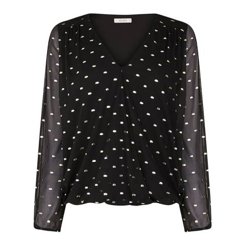 Oasis Black/Multi Foil Spot Mesh Wrap Top