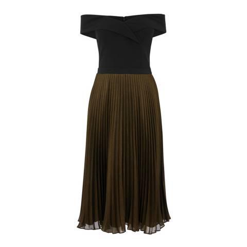 Oasis Multi Black Bardot Midi Dress