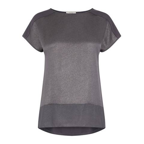 Oasis Dark Grey Hammered Satin Top