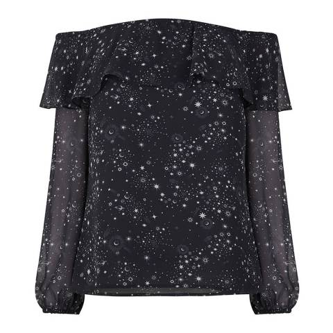 Oasis Black/Multi Star Print Bardot Top
