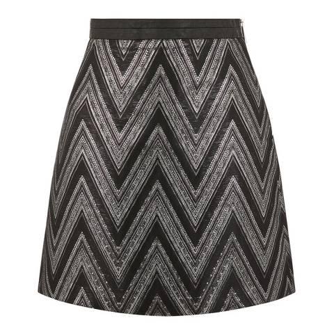 Oasis Multi Silver Zigzag Jacquard Marley Mini Skirt