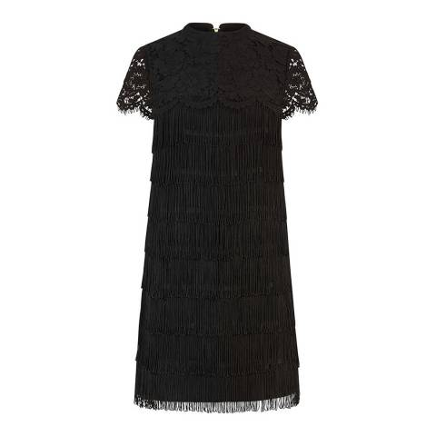 Oasis Black Lace Fringe Shift Dress