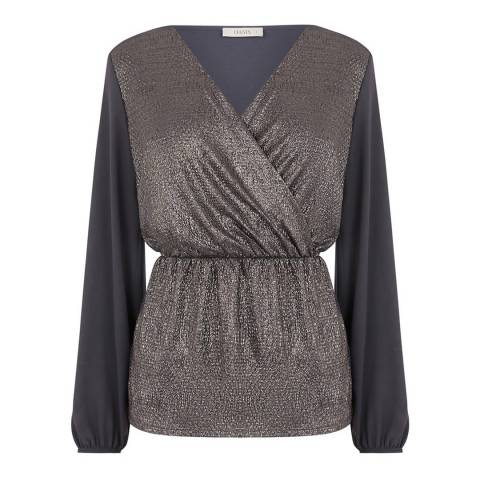 Oasis Dark Grey Crinkle Foil Wrap Front Top