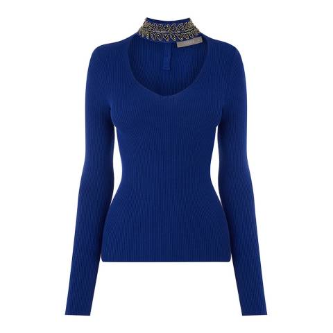 Oasis Rich Blue Olivia Embellished High Neck Jumper