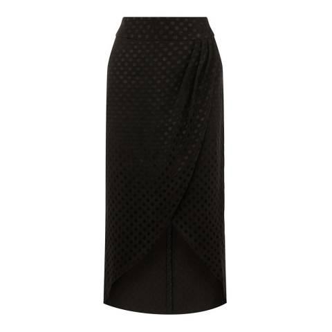 Oasis Black Spot Jacquard Wrap Midi Skirt