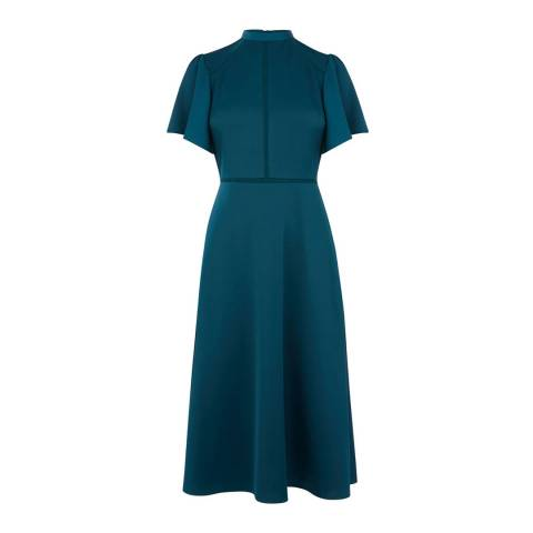 Oasis Teal Green Angel Sleeve Satin Midi Dress