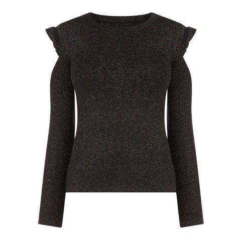 Oasis Black Lurex Cold Shoulder Top