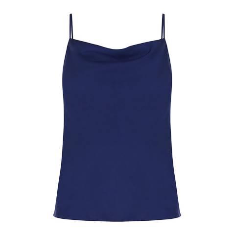 Oasis Mid Blue Satin Cowl Neck Cami