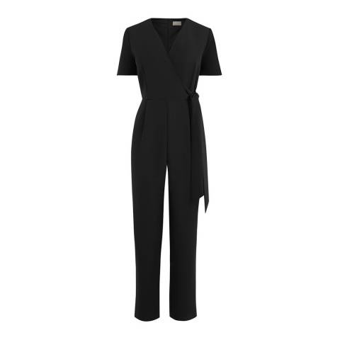 Oasis Black Wrap Front Tie Side Jumpsuit