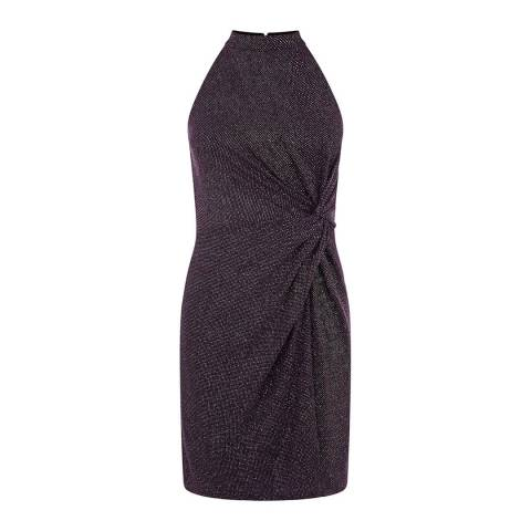 Oasis Mid Purple Glitterball Twist Tube Dress