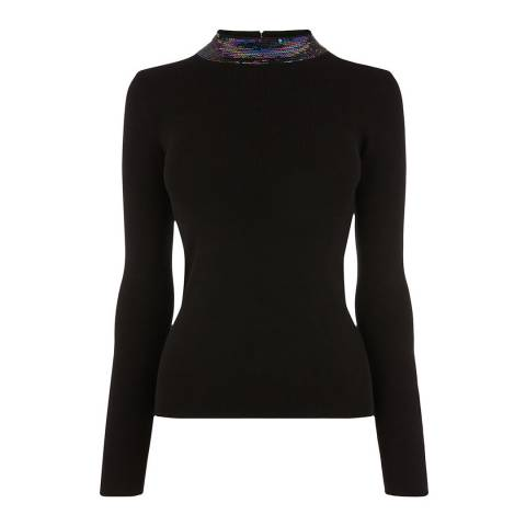 Oasis Black Scarlett Sequin Collar Jumper