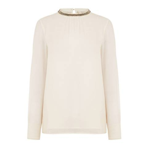 Oasis Off White High Neck Embellished Top