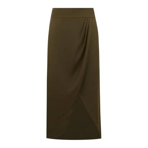 Oasis Khaki Satin Wrap Tie Side Skirt