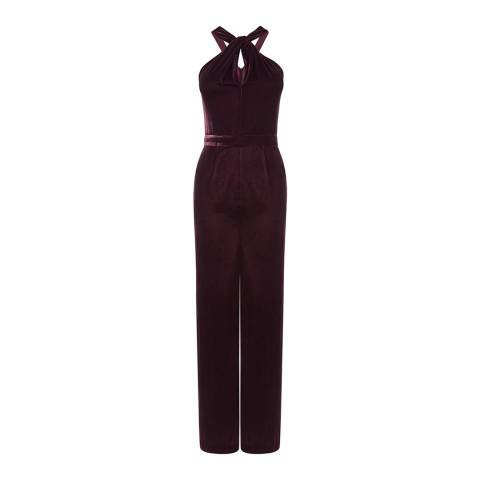 Oasis Mid Purple Twist Neck Velvet Jumpsuit